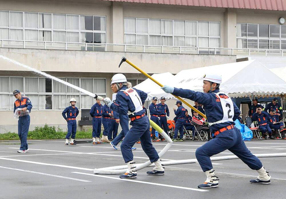 消防団の練習の様子