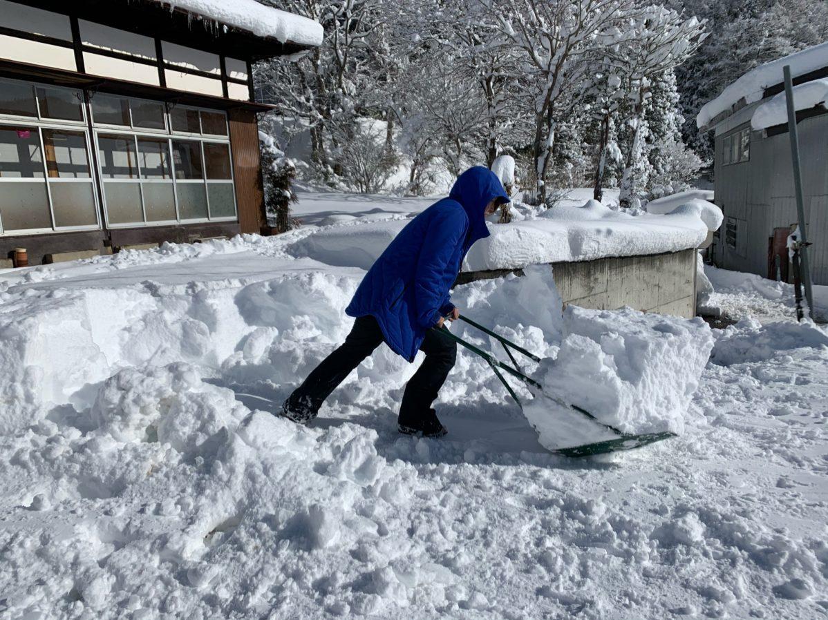 ダンプを使って毎日雪かき