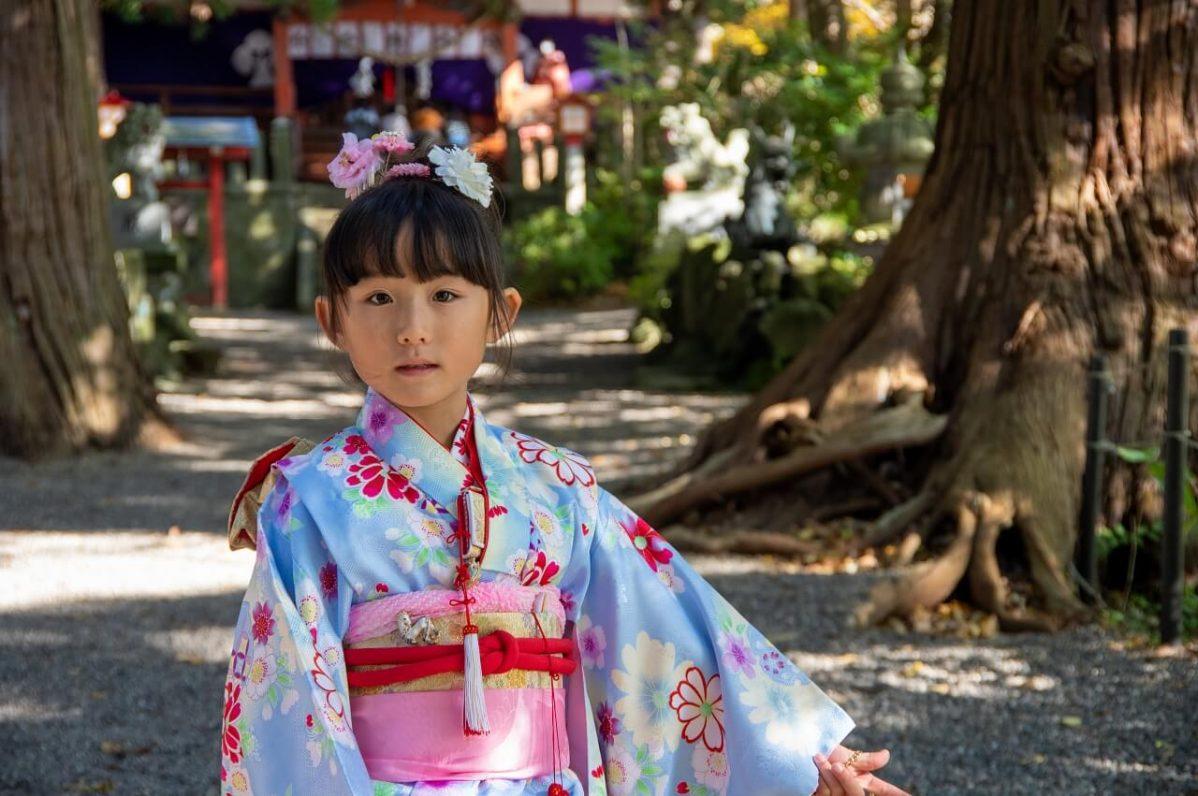 長野県信濃町野尻湖の宇賀神社にて。七五三のお参り